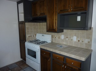 Kitchen with lots of storage space and built in microwave cabinet